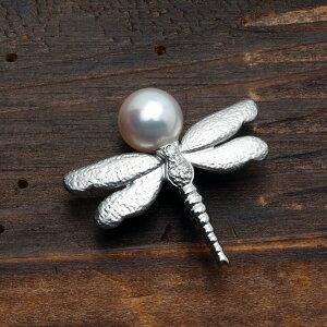 K14WG アコヤ本真珠 トンボ ピンブローチ パール 14金 ホワイトゴールド 蜻蛉 昆虫