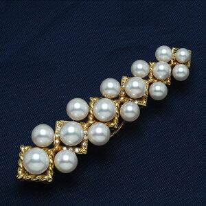 K18 アコヤ真珠 天然ダイヤ付き デザインブローチ 18金 ゴールド 大ぶり 個性的