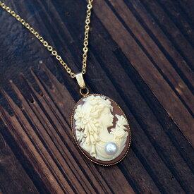 アクリル カメオ ペンダントネックレス アコヤ真珠付き オーバル18×25mm ブラウン/ブラック全2色 個性的 大ぶり レディース
