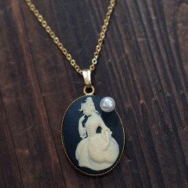 アクリル カメオ ペンダントネックレス アコヤ真珠付き オーバル18×25mm 大ぶり 個性的 かわいい レディース