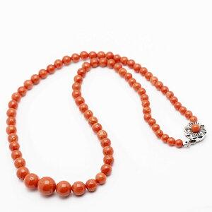 【訳あり】桃色珊瑚 サイズグラデーション ネックレス 48cm さんご サンゴ シンプル 大ぶり モモ レディース