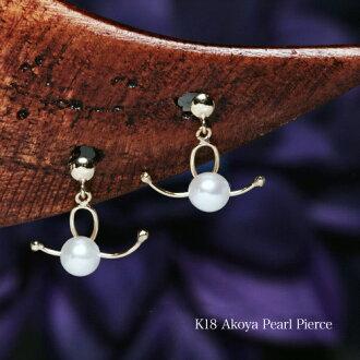 K18 Akoya pearls this baby part design earrings /pearl / Akoya jewelry ladies j /pearl/pierce