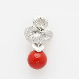 K18WG 血赤珊瑚 リーフ ペンダントトップ 0.06ct天然ダイヤ付き 18金 ホワイトゴールド 個性的 葉っぱ レディース