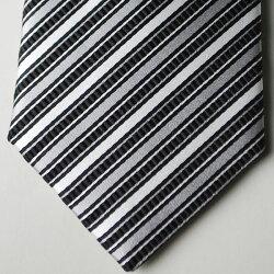 【日本製・モーニング用】西陣織の絹100%の白黒の縞ネクタイ(ストライプ)商品で柄の位置が違う場合あり結婚式の仲人や父親のモーニングコートと共に着用が最適