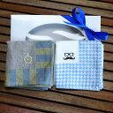 リネンハンカチ2枚セット ギフトラッピング無料 名入れ イニシャル刺繍 日本製 麻 メンズ クリスマス プレゼント 送料無料