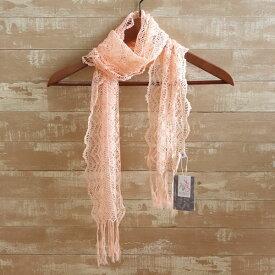 桜染 絹トーションレーススカーフ 春夏秋 日本製 さくら 草木染 レース 軽い シルク かわいい おしゃれ スワロフスキー 天然 母の日