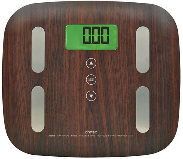 ドリテック 木目調体脂肪計 ダークウッド BS-244DW