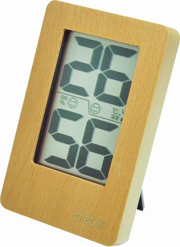 【送料無料メール便専用】 天然木枠デジタル温湿度計 ナチュラル CR-2200W