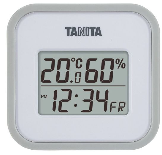 【送料無料メール便専用】タニタ デジタル温湿度計 TT-558 グレーホワイト(TT-550の後継品)