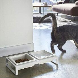 送料無料 山崎実業 4206 ペットフードボウルスタンドセット タワー ホワイト 猫
