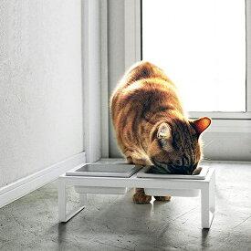 送料無料 山崎実業 4744 ペットフードボウルスタンドセット タワー トール ホワイト 猫