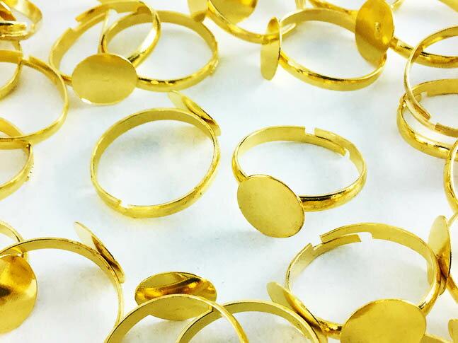 指輪 パーツ 10mm台座付き ゴールド 50個 (AP0208)