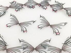 蝶 シフォン パーツ ライトパープル 模様多 50個 約40x30 ピアス イヤリング チャーム レジン パーツ AP1307