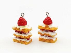 チャームパーツ ケーキ イチゴのミルフィーユ調 6個 スイーツ アクセサリーパーツ ピアス イヤリングパーツ AP1385