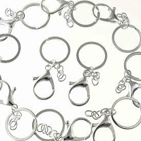 ナスカンパーツ シルバー 白銀 完成品 10個 キーリング チェーン付き ナスカン 二重リング キーホルダーパーツ アクセサリーパーツ AP1526