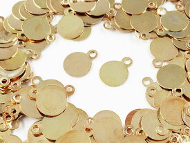 メタル パーツ プレート 丸 6mm ゴールド KC金 200枚 カン付き (AP0504)