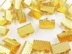 紐止め金具 ワニ口 50個 ゴールド 10mm (AP0556)