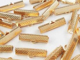 紐止め金具 ワニ口 50個 ゴールド KC金 25mm アクセサリーパーツ ハンドメイドパーツ (AP0573)