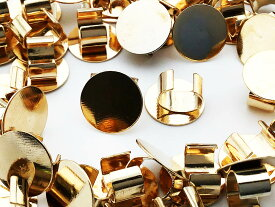 セッティング 台座 10mm ゴールド KC金 40個 留め具 留め金具付き ヘアゴム ブレスレット パーツ アクセサリー 金具 AP0897