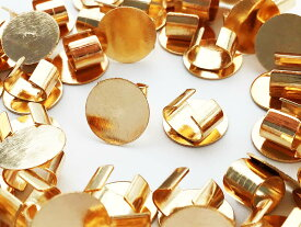 セッティング 台座 8mm ゴールド KC金 40個 留め具 留め金具付き ヘアゴム ブレスレット パーツ アクセサリー 金具 AP0907