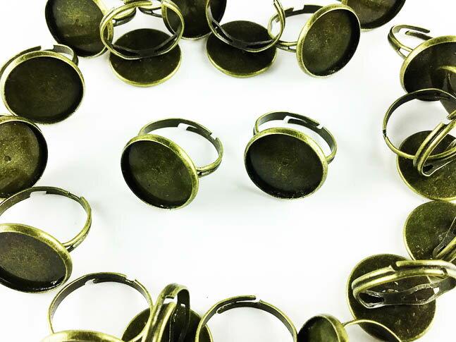 指輪 パーツ ミール皿 台座付き 金古美 20個 アンティークゴールド (AP0420)