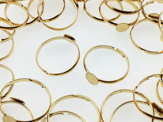 指輪 パーツ 6mm台座付き ゴールド 50個 B級品(AP0453)
