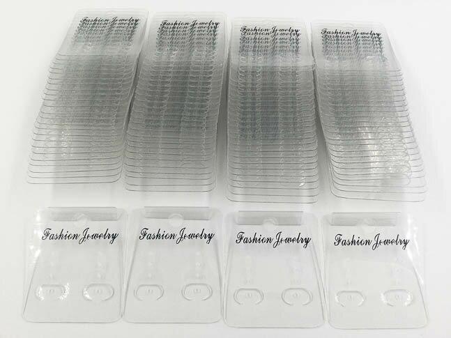 ピアス 台紙 100枚 イヤリング 台紙 クリア 透明 フック付き (AP0454)