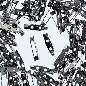 ブローチピン 20mm 200個 セット ガンメタ ブローチ金具 パーツ 2つ穴 ウラピン 手芸 アクセサリーパーツ AP1971