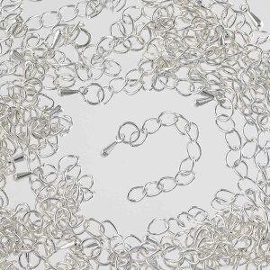 アジャスター チェーン 金具 シルバー 白銀 50mm〜60mm しずくチャーム付き 50本 ネックレス ブレスレット エンドパーツ アクセサリー 手芸 AP2625