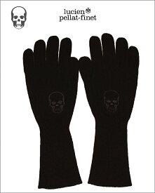 """【全品P2倍/お買い物マラソン〜2019/6/26(水)1:59】【ルシアン・ペラフィネ""""スカル・カシミヤウール手袋/女性用】【Skull-Globe""""Black】"""