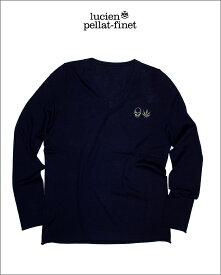 """【ルシアンペラフィネ""""スカル&リーフ迷彩柄カシミヤ混Vニット】【lucien pellat-finet""""Skull&Leaf/CottonCashmere-knit""""Navy】"""