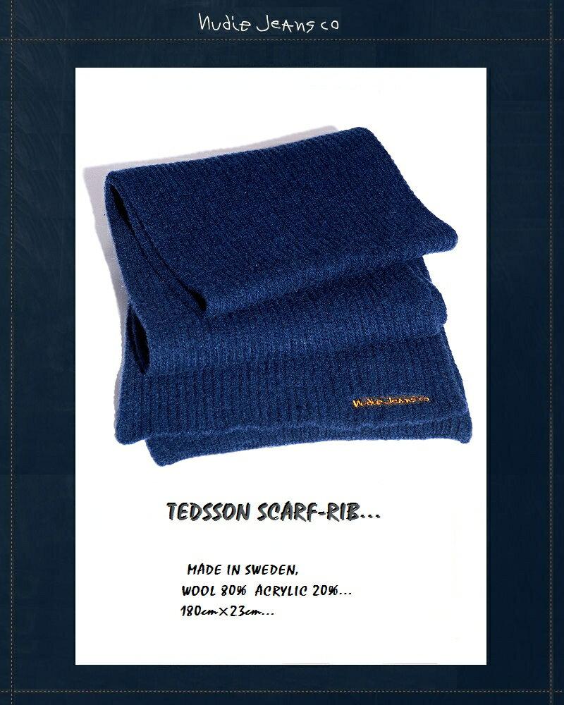 """【全品P2倍】【NudieJeans""""リブマフラー/ブルー】【ヌーディージーンズ正規取り扱い】"""