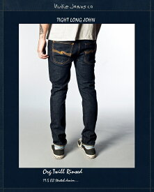 NudieJeans TightLongJohn Org.Twill Rinsed L32ヌーディージーンズ タイトロングジョン