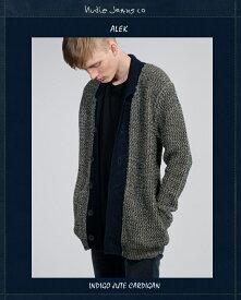 NudieJeans ALEK インディゴ ジュート カーディガン ヌーディージーンズ 秋冬ニット 限定カプセルコレクション