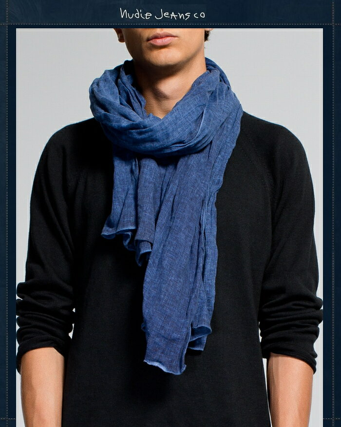 "【NudieJeans""KIMSSON LINEN-SCARF】【ヌーディージーンズ インディゴ・リネンスカーフ】"