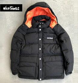 秋冬新作 ワイルドシングス ダウンパーカ ダウンジャケット ブラック ミリタリーWildthings Down Parka Jacket