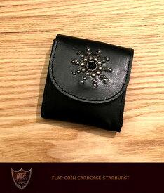 HTC ♯FLAP COIN CARD CASE STARBURST Black/silverHTC フラップ コイン カードケース 小銭入れ レザースタッズ ハリウッドトレーディングカンパニー 牛革 アクセサリ madeinUSA アメリカ製