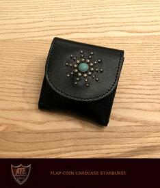 HTC ハリウッドトレーディングカンパニー フラップ コイン カードケース ターコイズHTC FLAP COIN CARD CASE STARBURST TQ/silver小銭入れ レザースタッズ 牛革 アクセサリ madeinUSA アメリカ製