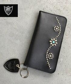 HTC #25 Type1 StudsWallet Black Silverstuds/TQHTC  スタッズウォレット ブラックレザー フラワーターコイズ シルバースタッズ ハリウッドトレーディングカンパニー 財布 札入れ カードケース madeinUSA アメリカ製