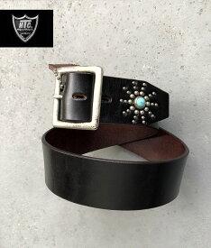 HTC スタッズベルト エンドオンリー スターバースト ブラック ターコイズ シルバー ハリウッドトレーディングカンパニー madeinUSA アメリカ製HTC #EndOnly Studsbelt Black Silverstuds/TQ
