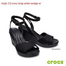 クロックス crocsleigh 2.0 cross strap ankle wedge w レイ2.0クロスストラップアンクルウェッジウィメン ブラック【クロックス国内正規取扱】