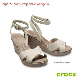 クロックス crocsleigh 2.0 cross strap ankle wedge w レイ2.0クロスストラップアンクルウェッジウィメン オートミール【クロックス国内正規取扱】