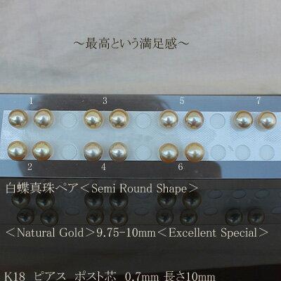 ●白蝶真珠ペア<Semi Round Shape>直結<Natural Gold>9.75-10mm<Excellent Special>K18 ピアス ポスト芯 0.7mm 長さ10mmK18 ピアス ポスト芯 0.85mm 長さ10mmオプション追加900円税別