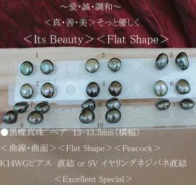 ●黒蝶真珠ペア 13-13.5mm(横幅)<曲線・曲面><Flat Shape><Peacock>K14WG ピアス 直結 or SVイヤリングネジバネ直結<Excellent Special><Only Shop Original Proportion>
