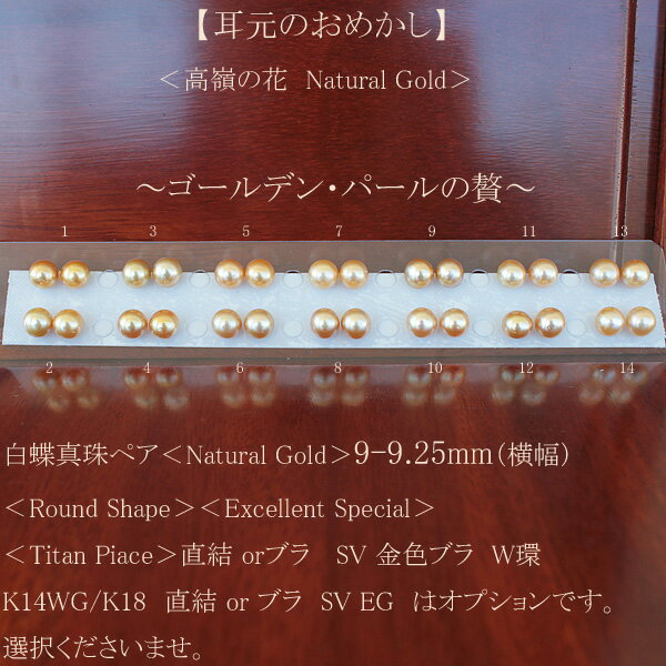 ●白蝶真珠ペア<Natural Gold>9-9.25mm(横幅)<Round Shape><Excellent Special><Titan Piace>直結 or SV 金色ブラ W環K14WG/K18直結 or ブラ SV EG は オプションです。選択くださいませ。