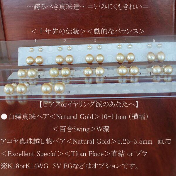 ●白蝶真珠ペア<Natural Gold>10-11mm(横幅)<百合Swing>W環SVアコヤ真珠越し物ペア<Natural Gold>5.25-5.5mm直結<Excellent Special><Titan Piace>直結 or ブラ※K18orK14WG SV EGなどはオプションです。