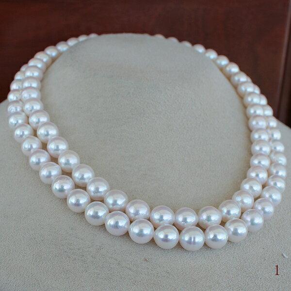 ●アコヤ真珠越し物<ホワイトピンクの彩り><Semi Round Shape>8-8.5mm 90cm〜Necklace