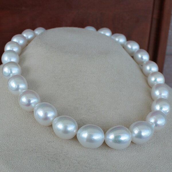 ●白蝶真珠<Drop Shape><Natural White>27コ12.5-14.4mm<Excellent Special>Necklace「真珠の一週間」