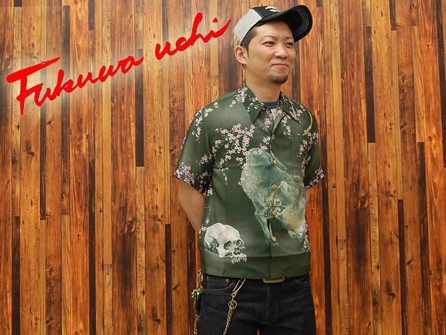 FUKUWA-UCHI(フクワウチ) シルクアロハシャツ「髑髏」HL085-ブラック/