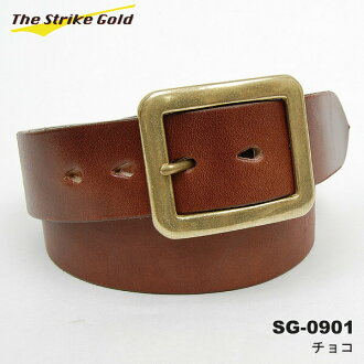 "THE STRIKE GOLD( strike gold) Italian benz leather belt plane ""SG-0901"" chocolate 《 free shipping 》"